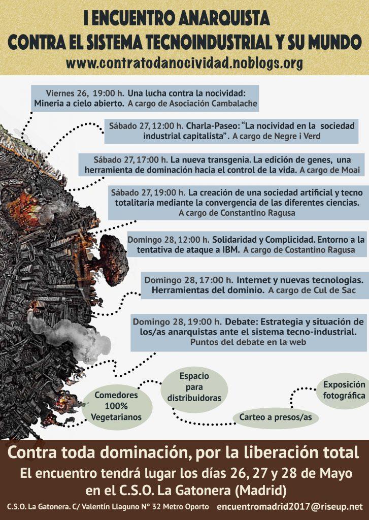 Cartel del I Encuentro contra el sistema tecnoindustrial