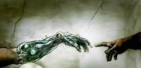 Mano robótica tocando a mano humana