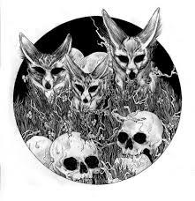 Dibujo de animales y calaveras